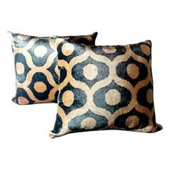 Pillows 'Set.2 Pieces' Handmade in Ikat Fabric Uzbekistan, 1990