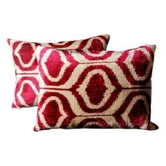 Pillows 'Set of 2 Pieces' Handmade in Ikat Fabric, Uzbekistan, 1990