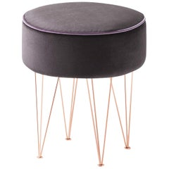 Pills Brown Small Round Pouf with Copper Legs