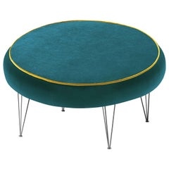 Pills Green Round Pouf with Black Legs