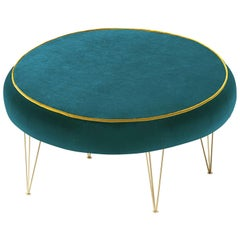 Pills Green Round Pouf with Gold Legs