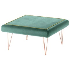 Pills Green Square pouf with Copper Legs