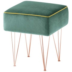 Pills Small Green Square pouf with Copper Legs