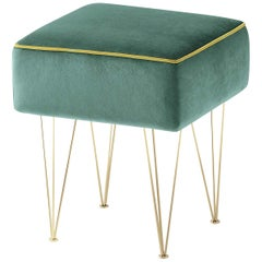 Pills Small Green Square pouf with Gold Legs