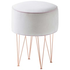 Pills Small White Round pouf with Copper Legs