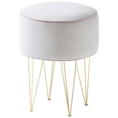 Pills Small White Round pouf with Gold Legs