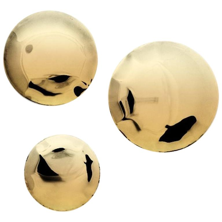 Pin 3 Set Polished Flamed Gold Color Stainless Steel Hanger by Zieta For Sale