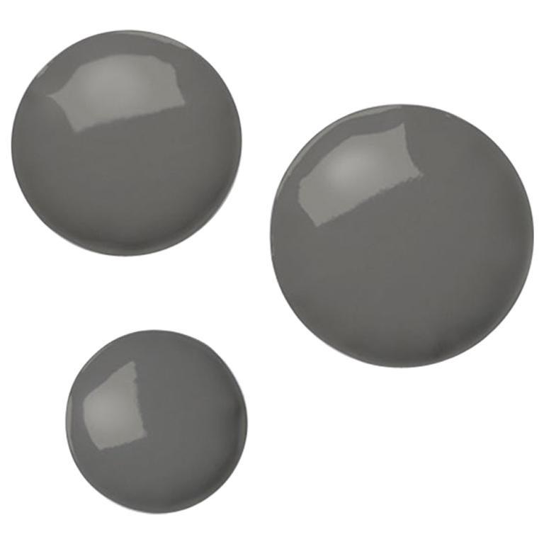 Pin 3 Set Polished Umbra Grey Color Carbon Steel Hanger by Zieta
