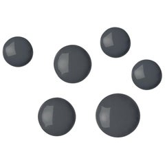 Pin 6 Set Polished Graphite Grey Color Carbon Steel Hanger by Zieta