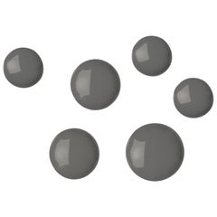 Pin 6 Set Polished Umbra Grey Color Carbon Steel Hanger by Zieta