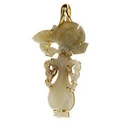 Pin and Pendant Antiques Chinese Jade 18 Karat Gold Diamond
