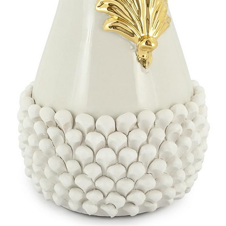 Gold Pin Ceramic Black or White Vase For Sale