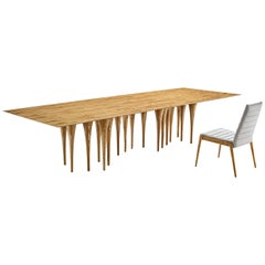 "Pin Dining 98"" Table in Teak with 12 Legs"