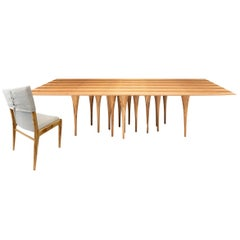 "98"" Pin Dining Table and Eight Tress Chairs in Teak, Set"