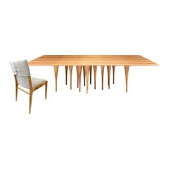 Pin Dining Table and Ten Tress Chairs in Teak, Set