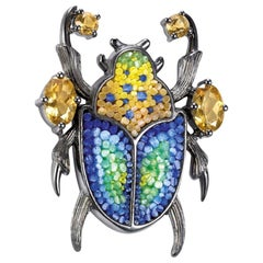 Pin Jacket Siver Quartz Hand Decorated with Micromosaic