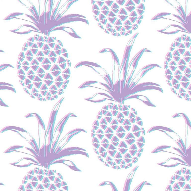 Piña Designer Wallpaper in Sunset 'Pink, Purple and Turquoise' For Sale
