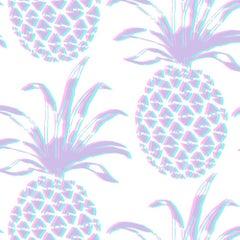 Piña Designer Wallpaper in Sunset 'Pink, Purple and Turquoise'