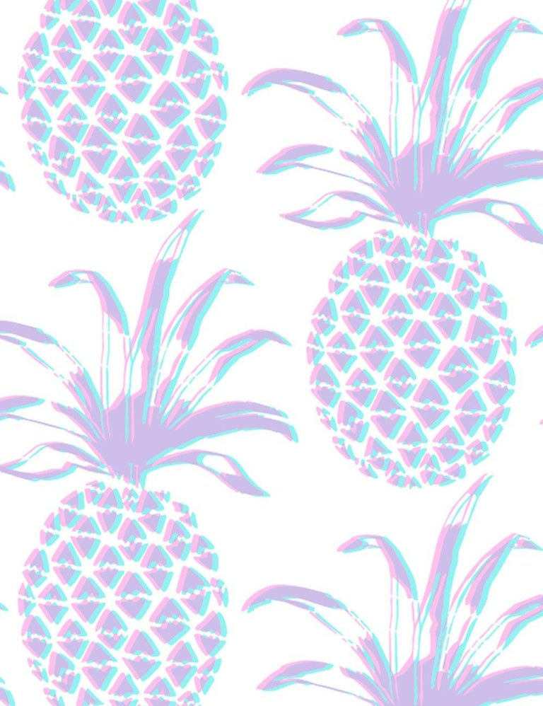 Piña Designer Wallpaper in Sunset 'Pink, Purple and Turquoise' In New Condition For Sale In Brooklyn, NY