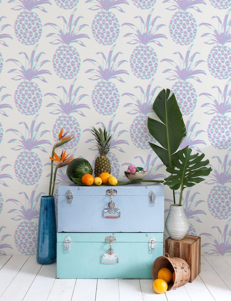 Contemporary Piña Designer Wallpaper in Sunset 'Pink, Purple and Turquoise' For Sale