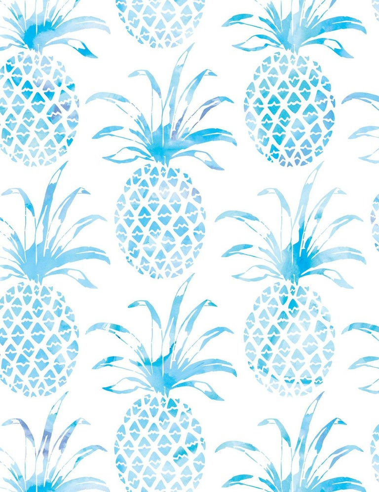 Modern Piña Pintada Designer Wallpaper in Mar 'Aqua and White' For Sale