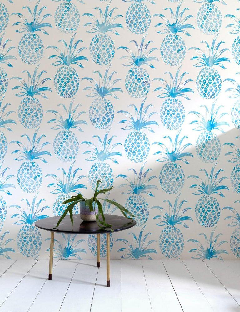 American Piña Pintada Designer Wallpaper in Mar 'Aqua and White' For Sale
