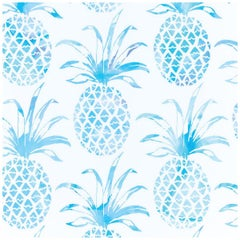 Piña Pintada Designer Wallpaper in Mar 'Aqua and White'