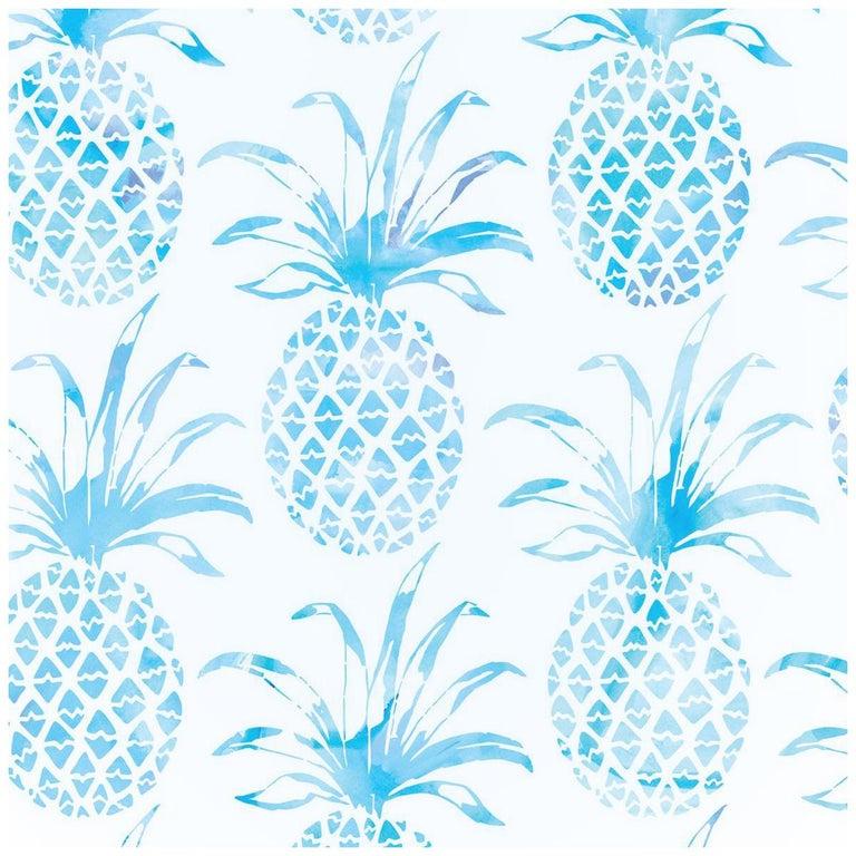Piña Pintada Designer Wallpaper in Mar 'Aqua and White' For Sale