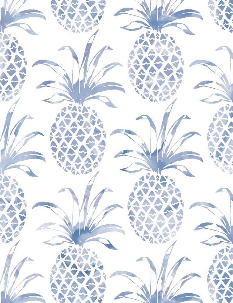 Modern Piña Pintada Designer Wallpaper in Tang 'Navy Blue and White' For Sale