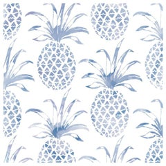Piña Pintada Designer Wallpaper in Tang 'Navy Blue and White'