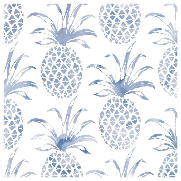 Piña Pintada Designer Wallpaper in Tang 'Navy Blue and White' For Sale