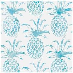 Piña Pintada Designer Wallpaper in Island 'Turquoise and White'