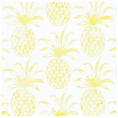 Piña Pintada Designer Wallpaper in Lemongrass 'Yellow and White'