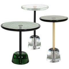 Pina Side Table, European, Minimalist, Green, Black Base, German, Table
