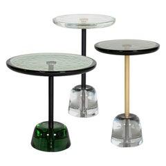 Pina Side Table, European, Minimalist, Green, Brass Base, German, Table