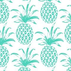 Piña Sola Designer Wallpaper in Caribe 'Turquoise on White'