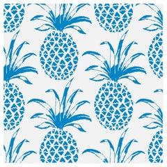 Piña Sola Designer Wallpaper in Color Ballena 'Azure Aqua Blue on White'