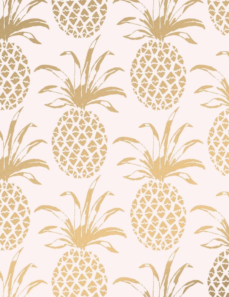 Contemporary Piña Sola Designer Wallpaper in Bijoux 'Metallic Gold on Blush' For Sale