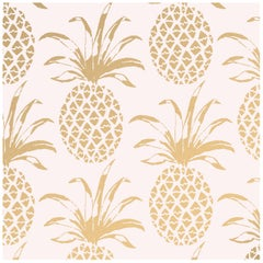 Piña Sola Designer Wallpaper in Color Bijoux 'Metallic Gold on Blush'