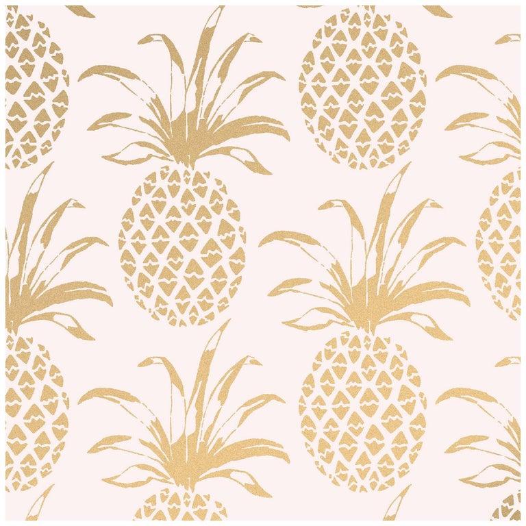 Piña Sola Designer Wallpaper in Bijoux 'Metallic Gold on Blush' For Sale