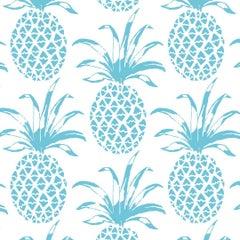 Piña Sola Designer Wallpaper in Color Delfin 'Aqua Blue on White'