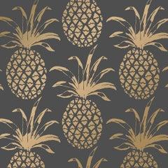 Piña Sola Designer Wallpaper in Eclipse 'Metallic Gold on Charcoal'