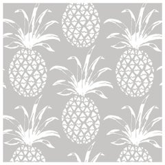 Piña Sola Designer Wallpaper in Color Heather 'White on Pale Grey'