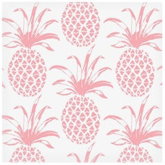 Piña Sola Designer Wallpaper in Color Rosa 'Peachy-Pink on Soft White'