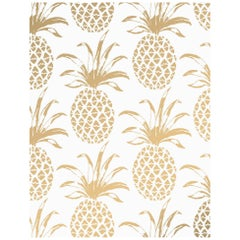 Piña Sola Designer Wallpaper in Color Sphinx 'Metallic Gold on White'
