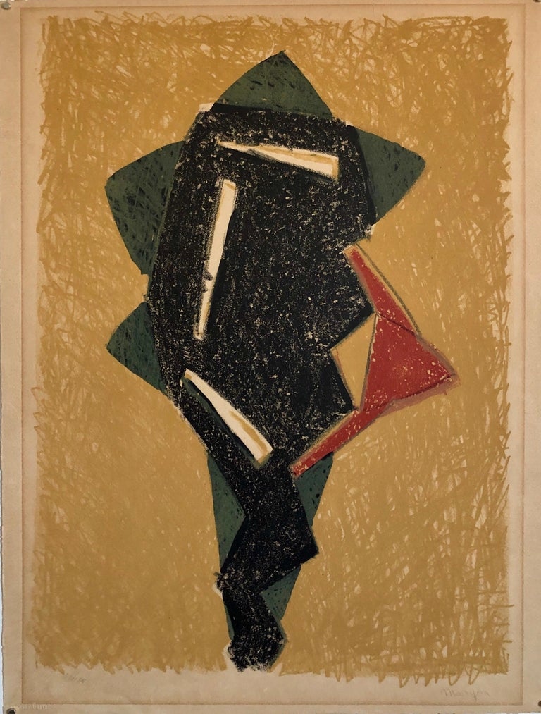 Polish French Jewish Figurative Expressionist Abstract Geometric Lithograph For Sale 2