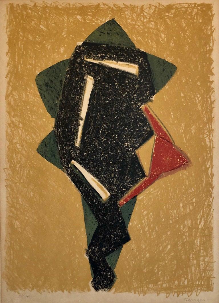 Pinchas Maryan Figurative Art - Polish French Jewish Figurative Expressionist Abstract Geometric Lithograph
