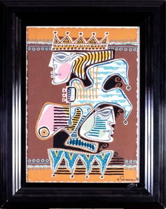 20th Century gouache painting of the king and the fool by Polish artist Shaar