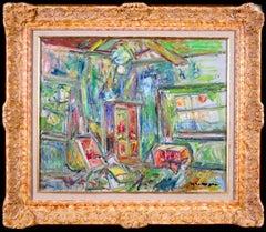 Le Salon - 20th Century Expressionist Oil, Interior by Pinchus Kremegne