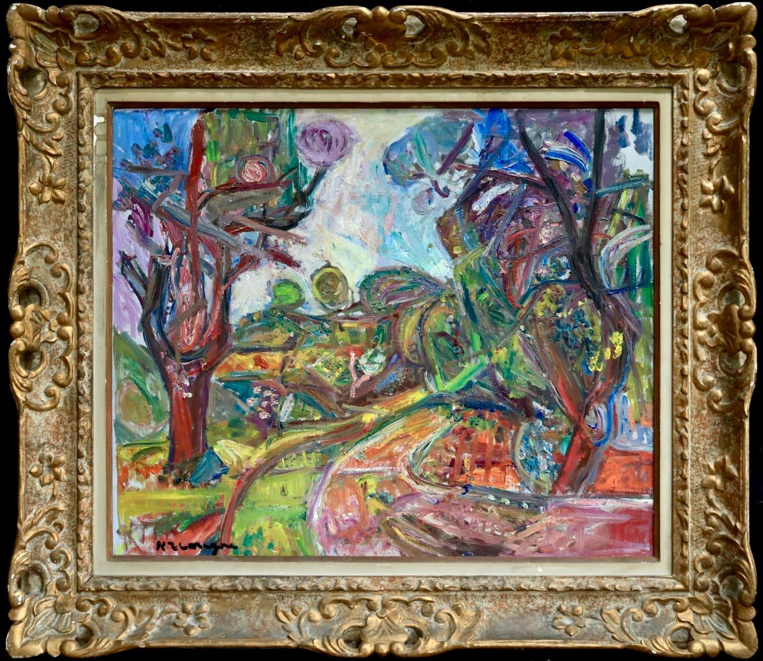Paysage a Ceret - Pyrennes - Expressionist Oil, Landscape by Pinchus Kremegne